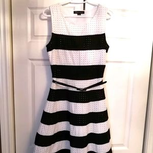 Black and white fit and flare Suzy Shier dress